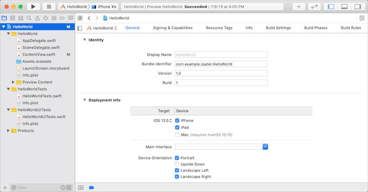 Edit App Properties in Xcode