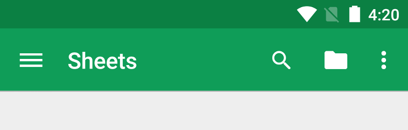 App/Action bar with green ground and the word sheets