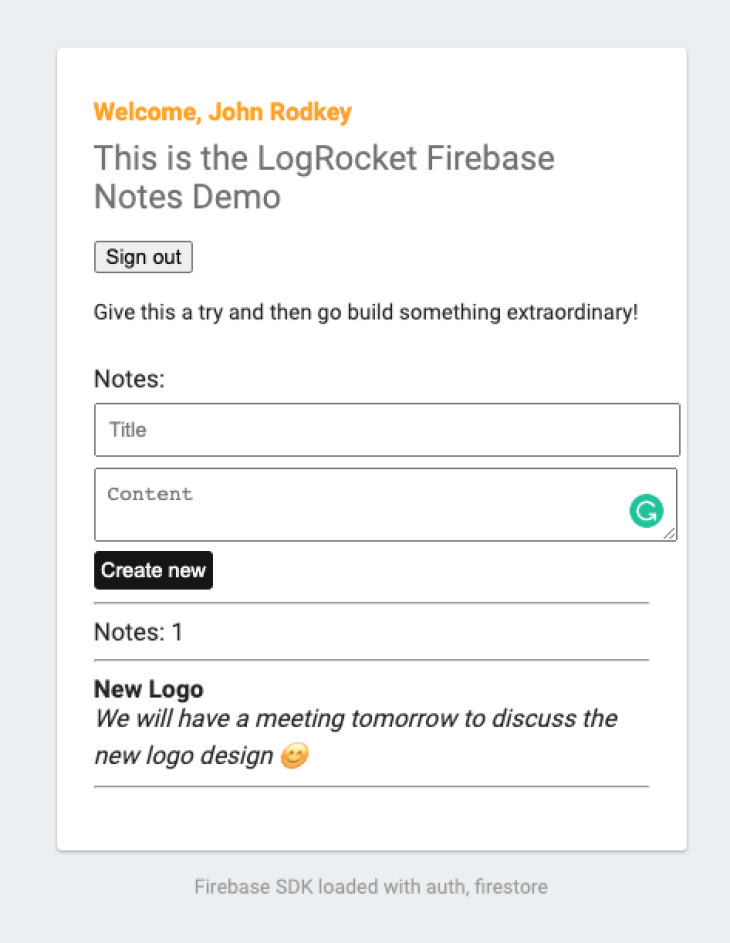 Our notes demo in Firebase with a snapshot listener.