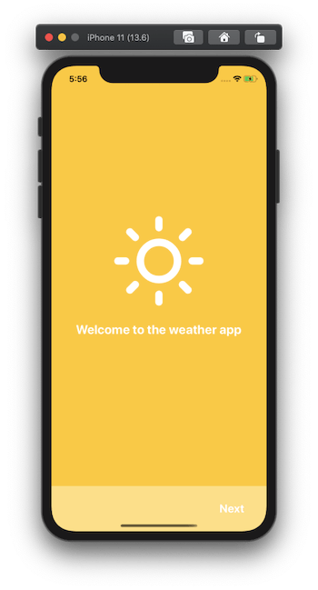 "screen with ""welcome to the weather app"" and footer"