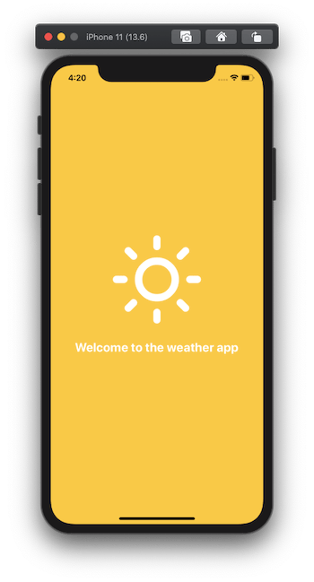 phone with 'welcome to the weather app""