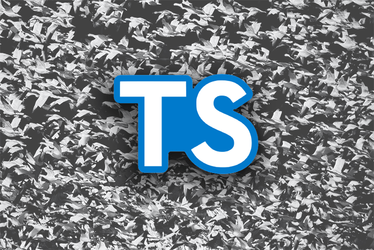 TypeScript logo against a black and white background.