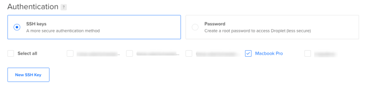 The authentication page for DigitalOcean.