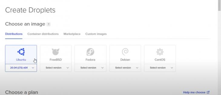 The upload screen for DigitalOcean.
