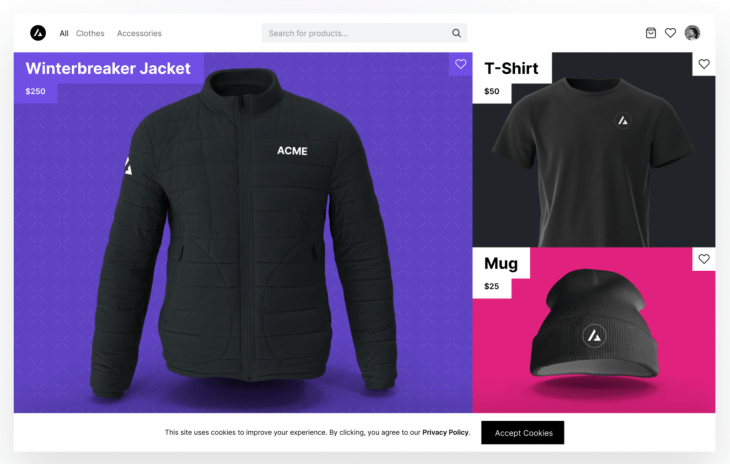 ecommerce site showing jacket, shirt, and hat