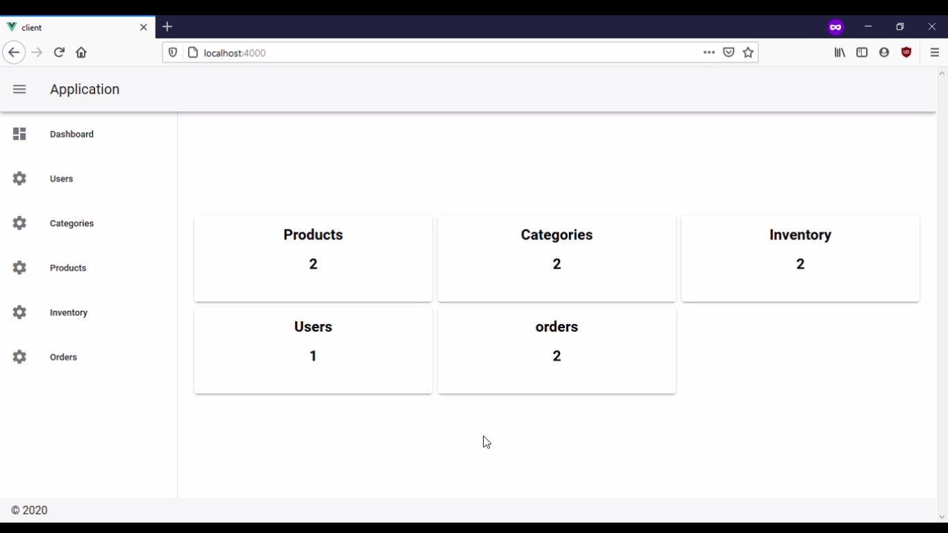 completed dashboard with products, categories, inventory