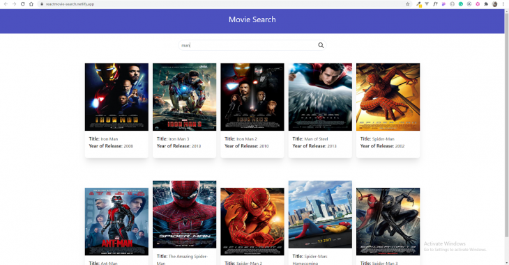 Our finished movie search app built with React.