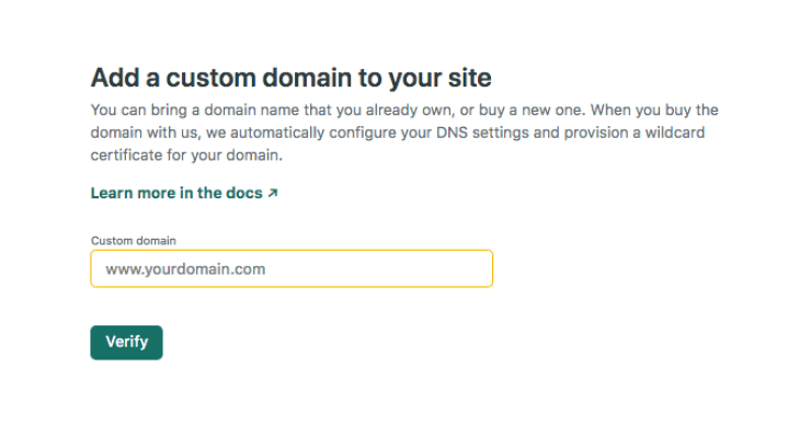 A page giving us the option to create a custom domain.