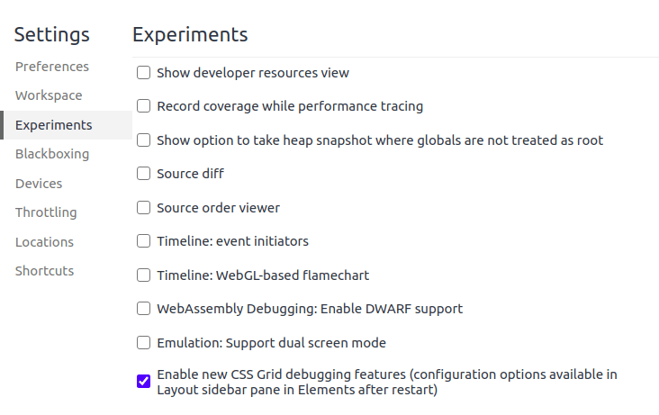 Enable grid in Chrome Devtools