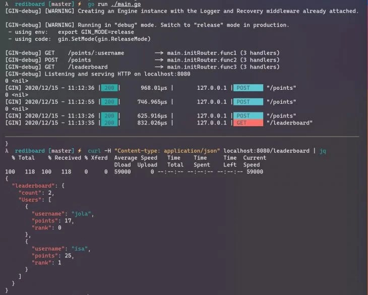 Output of running main.go in the terminal.