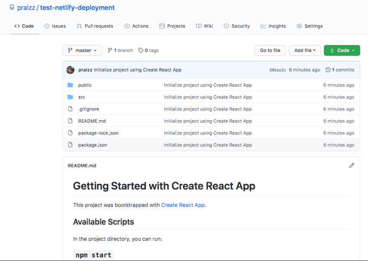 The Github repo for our Netlify test.