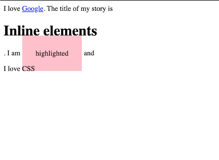 Example of Display Elements Inline and Block