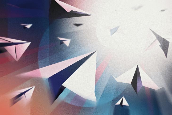 Illustration of Paper Planes Flying Into Light