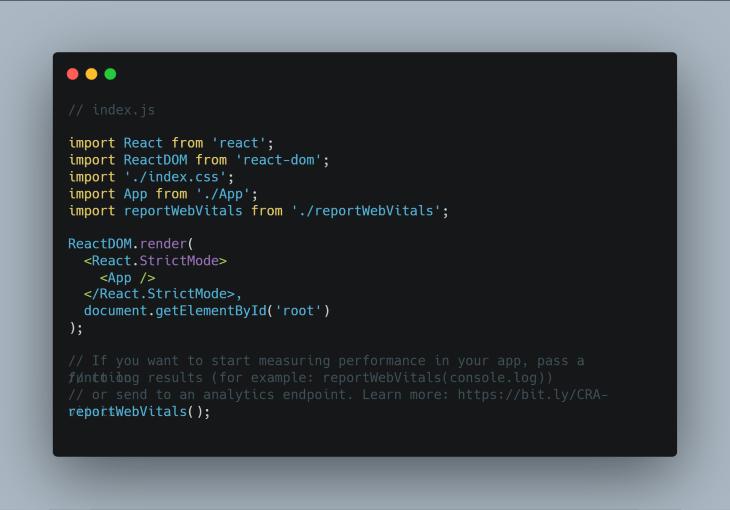 Index.js in React App