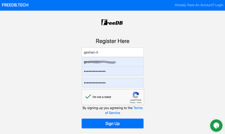Freedb.tech signup page display