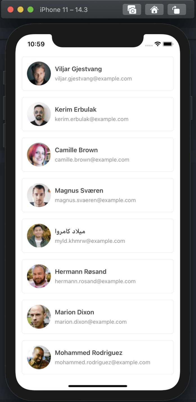 User Data API fetching display