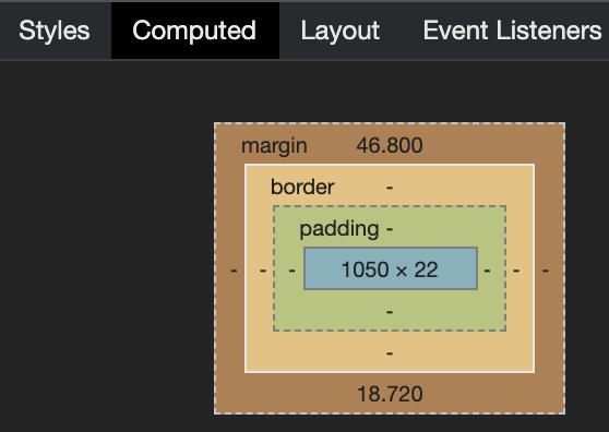 Value of Margin Top Element Visual