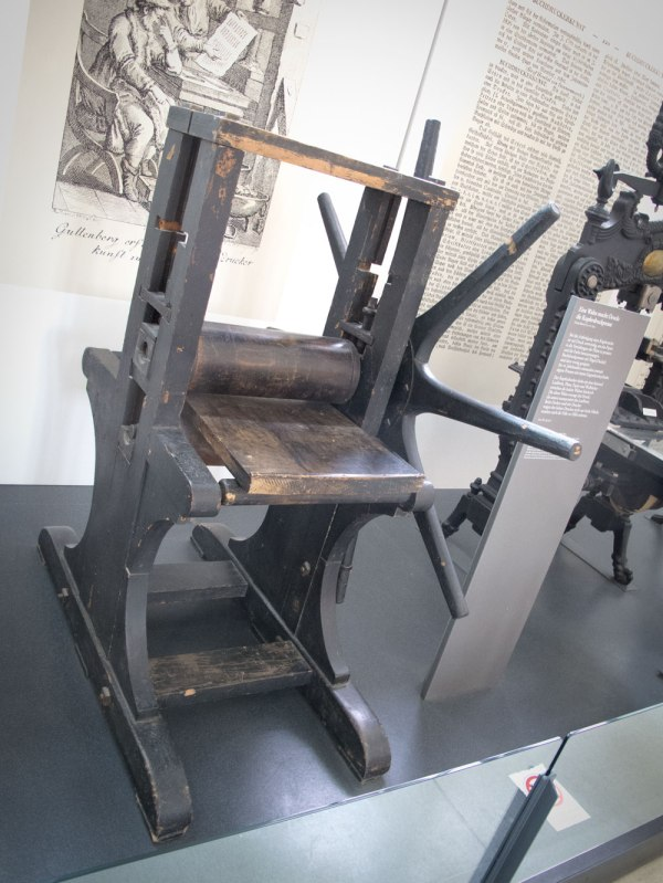 A 19th-century copperplate press on display at the Dutches Museum in Munich.
