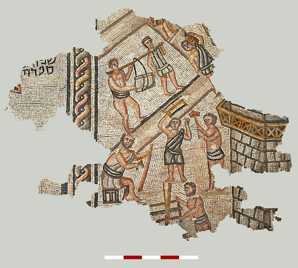 Largest mosaic fragment of the Construction scene, Khirbet Wadi Haman, Israel.