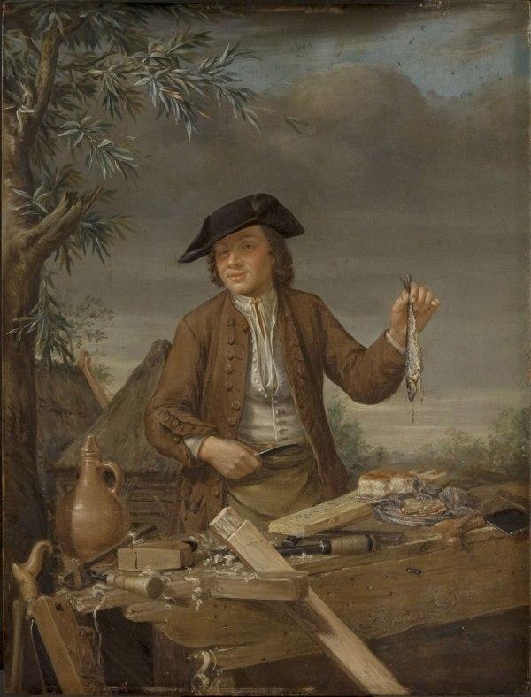 """""""Carpenter Taking His Meal"""" by Gerrit Van Zegelaar, mid-18th c."""