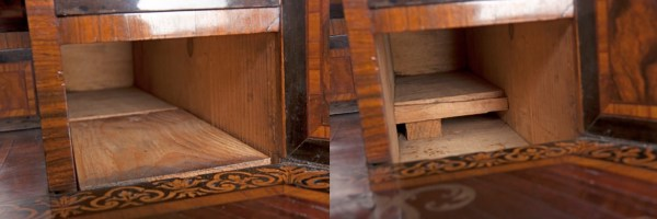 Left: the base of the lower right-hand drawer. Right: the hiding place.