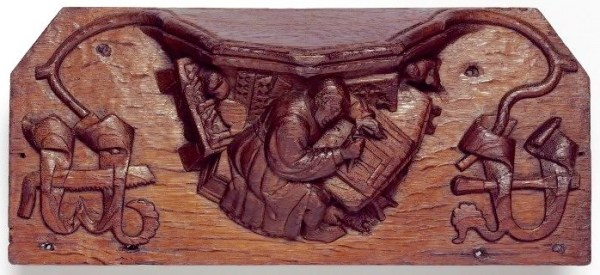 Master Carver with Apprentices, ca. 1419, Kings Lynn (Victoria and Albert Museum).