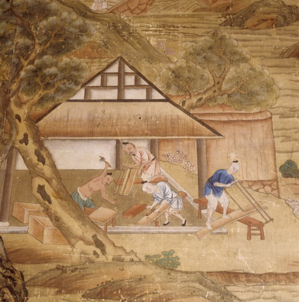 17th c. Chinese wallpaper on silk at Saltram. Carpenters making tea chests. National Trust photo.