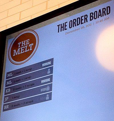 The Melt high-tech order board, Stanford Shopping Center, Palo Alto, CA