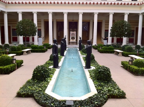 Getty Villa Malibu - View of Inner Peristyle Garden and Bronze Sculptures