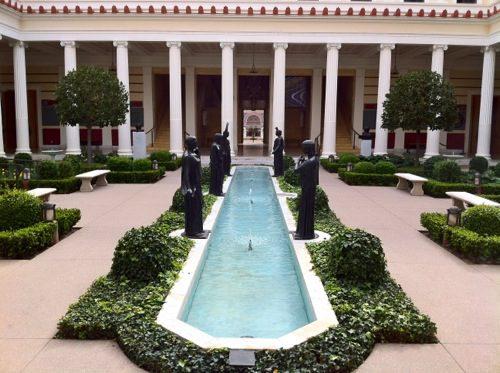 Getty Villa Malibu - View of Inner Peristyle Garden and Bronze Sculptures