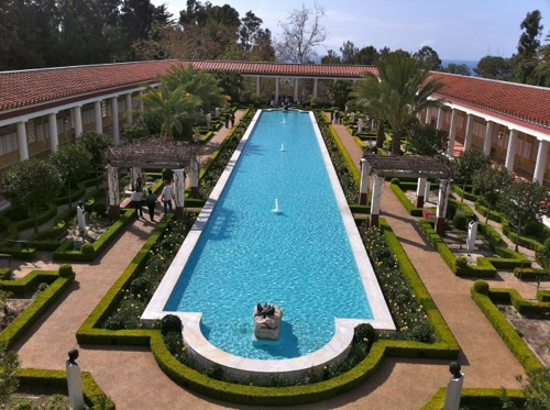 View of Outer Peristyle Garden and Relecting Pool from 2nd floor balcony - Getty Villa, Malibu