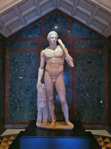 Lansdowne Herakles sculpture (Roman marble statue dates back to AD 125) is on view at the Getty Villa Museum in Malibu