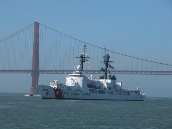 Coast Guard Ship in Parade of Ships sailing under Golden Gate Bridge in San Francisco during Fleet Week SF – © LoveToEatAndTravel.com