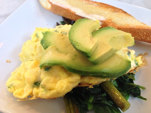 Green Eggs with Spinach, Asparagus and Avocado at Bumble restaurant in Los Altos, CA © LoveToEatAndTravel.com