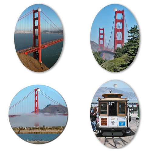 San Francisco Golden Gate Bridge and Cable Car Ornaments – © LoveToEatAndTravel.com