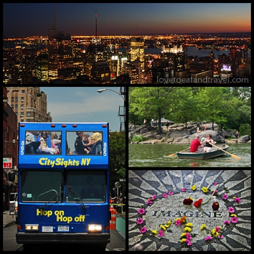 View of Manhattan skyline, NYC Bus Tour, Central Park Lake and Imagine Mosaic at Strawberry Fields – © LoveToEatAndTravel.com