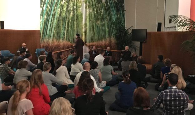 Guided Mindfulness Meditation at Dreamforce conference in SF - photo © Love to Eat and Travel