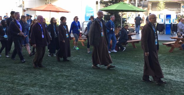 Guided Mindfulness Walking Meditation at Dreamforce conference in SF - photo © Love to Eat and Travel