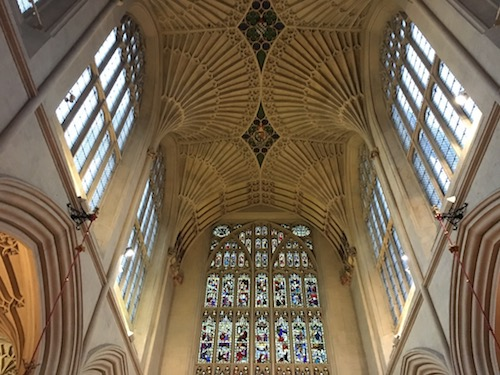 Beautiful fan vaulted ceiling at Bath Abbey, Bath, UK - photo © Love to Eat and Travel