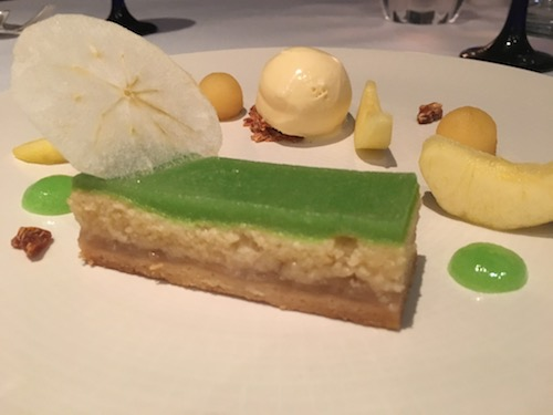 Apple Frangipane Tart with Almond Ice-Cream dessert at The Dower Restaurant at The Royal Crescent Hotel & Spa in Bath, UK - photo © Love to Eat and Travel