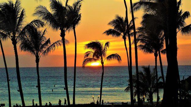 Maui beach sunset, Hawaii