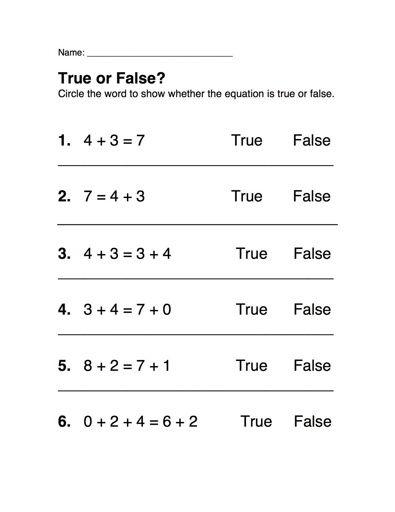 True Or False Equations First Grade