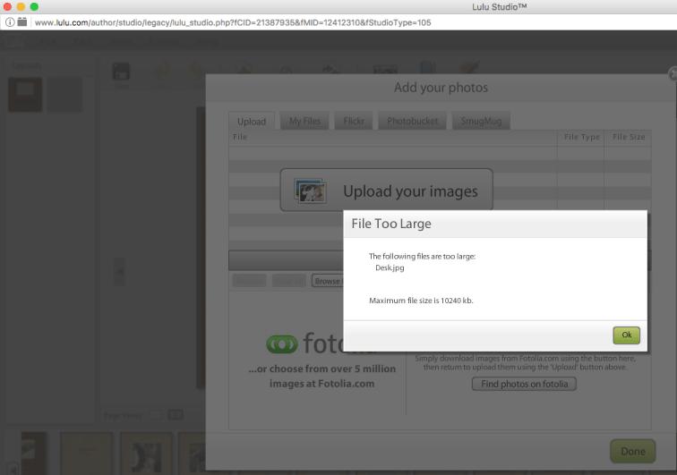 File size notification