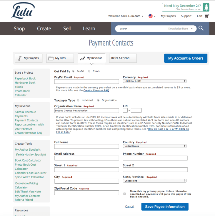 Lulu Payment Contact set up