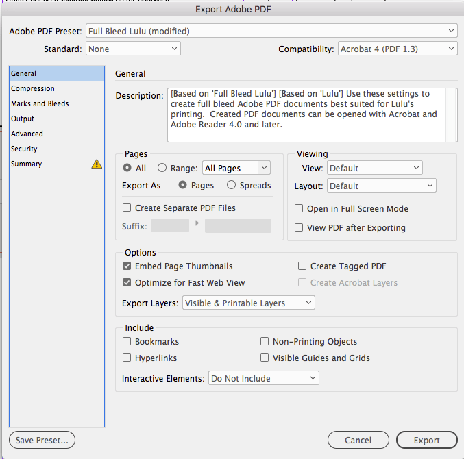 InDesign PDF export screen's general settings