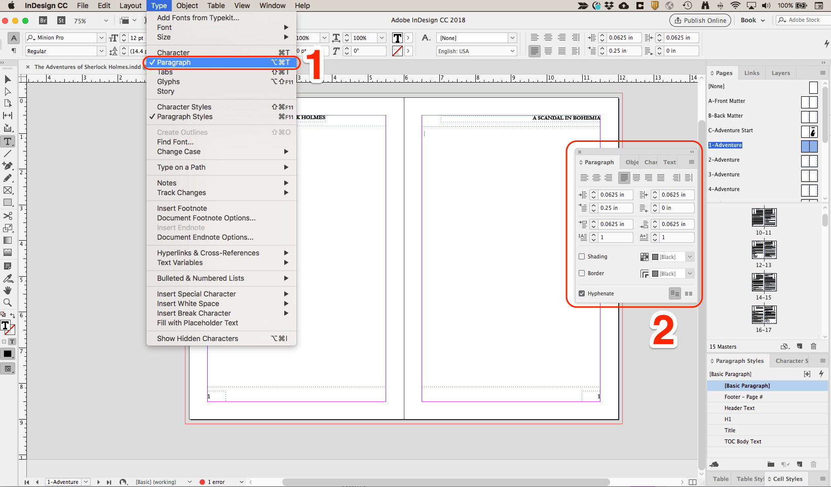 The InDesign Paragraph toolbox allows you greater control over individual paragraph layout