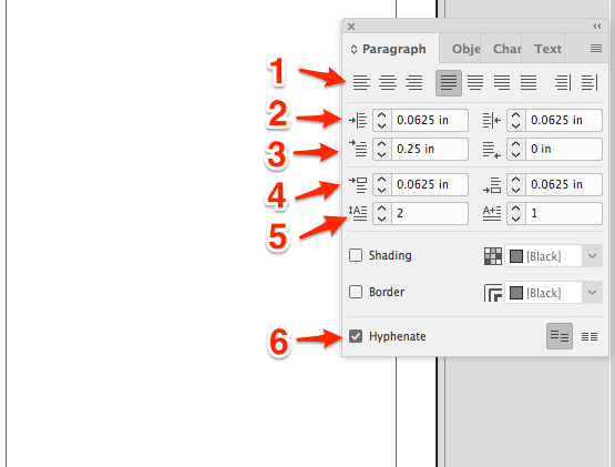 In depth view of the tools available in the InDesign Paragraph toolbox