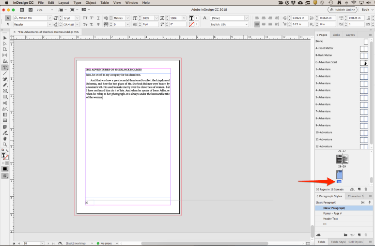 Pasting text into your InDesign Document