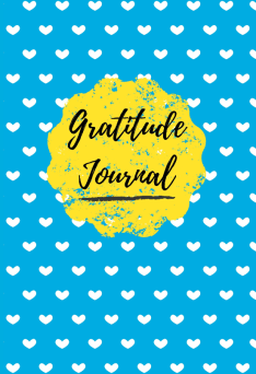 Gratitude journal cover with blue background, repeating white heart pattern, and yellow seal.