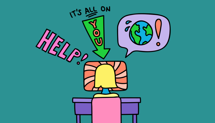 Cartoon person at computer thinking about global issue of sustainability and personal responsibility.